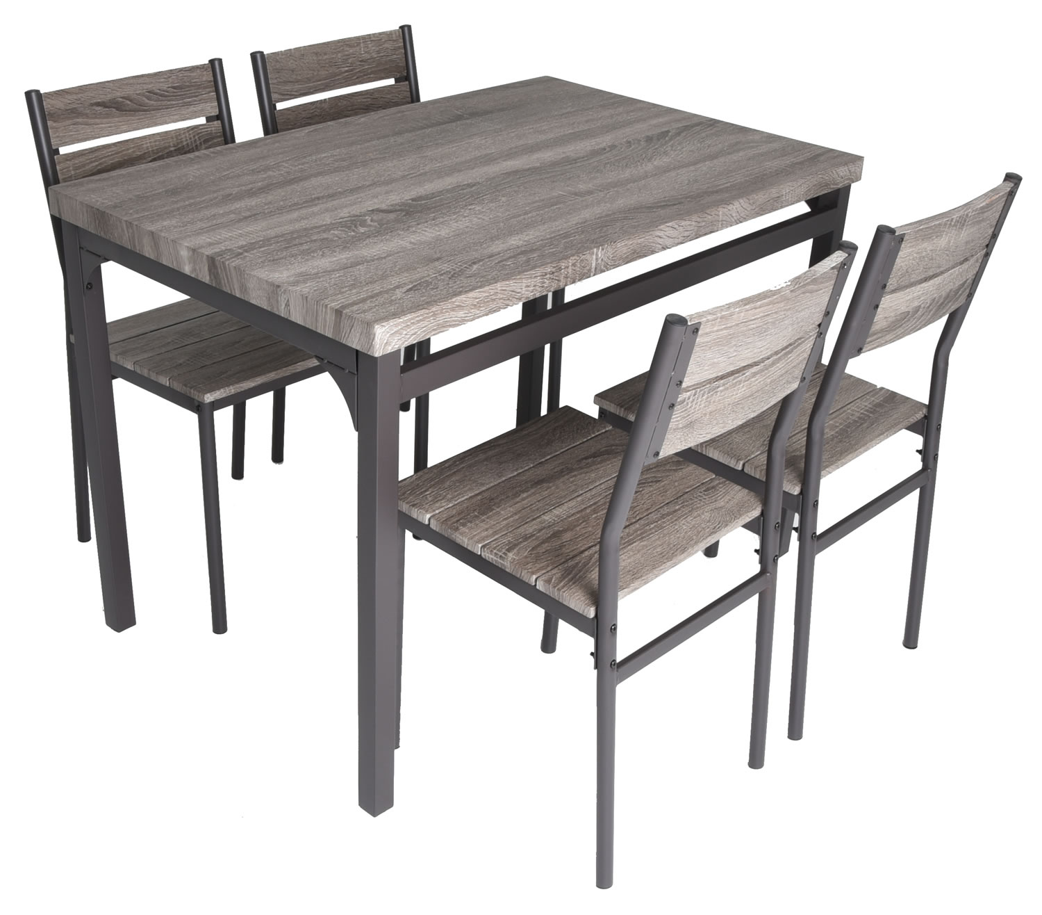 Details about Zenvida 5 Piece Dining Set Rustic Grey Wooden Kitchen Table  and 4 Chairs